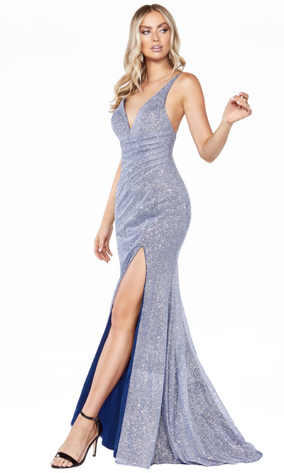 Cinderella Divine C29 long metallic opal blue dress with high slit