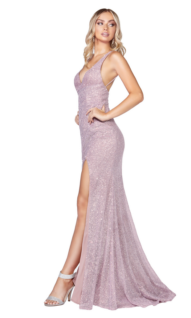 Cinderella Divine C29 long mauve metallic dress with high slit
