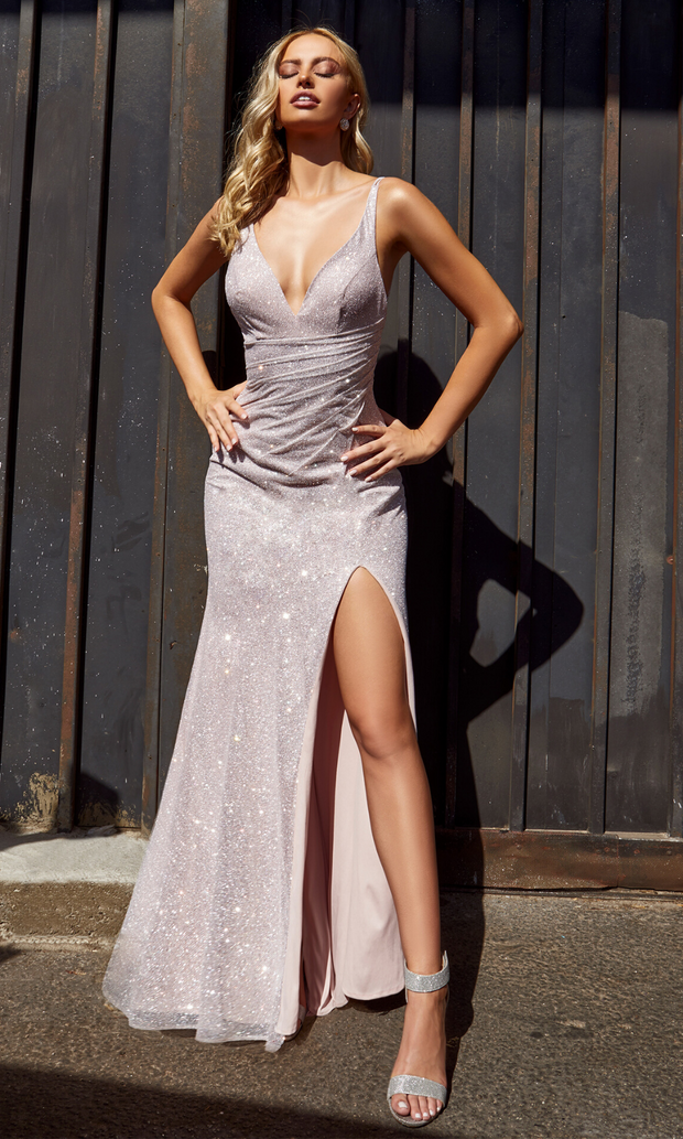 Cinderella Divine C29 long metallic dress with high slit