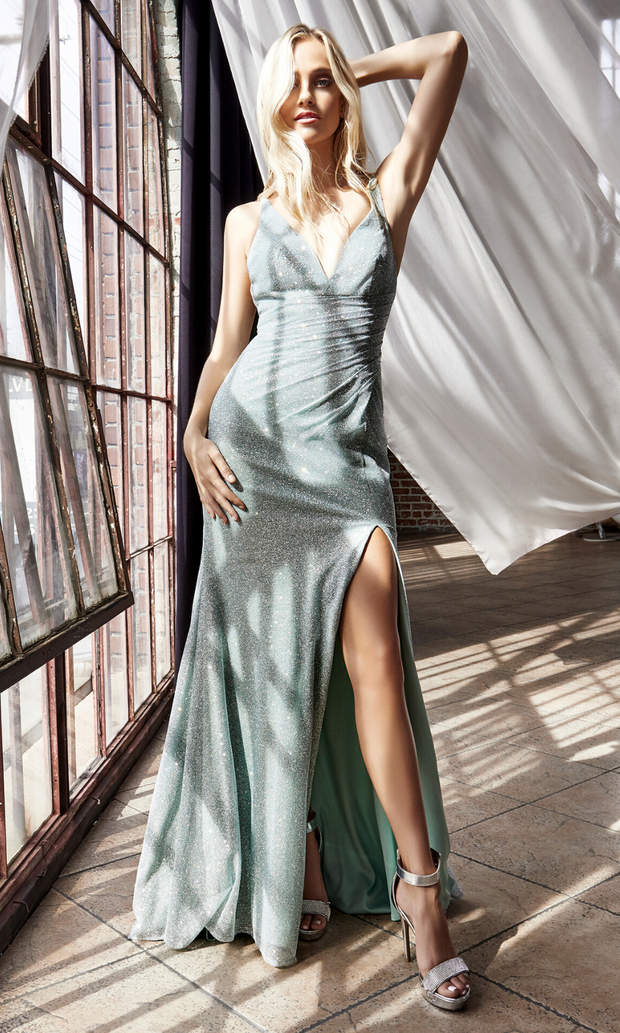 Cinderella Divine C29 long mint metallic dress with high slit