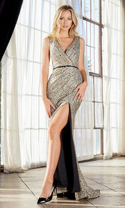 Cinderella Divine C31 long black gold metallic sexy v neck  glittery dress w/high slit & straps. Sleek & sexy dress is perfect for black tie event,prom, indowestern gown, wedding reception/engagement dress, formal wedding guest dress.Plus sizes avail.jpg