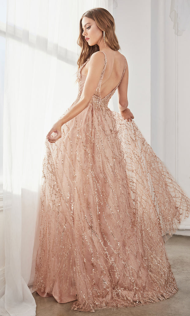 Cinderella Divine C32 long rose gold metallic sexy v neck  glittery dress w/straps. Flowy, a-line sexy dress is perfect for black tie event,prom, indowestern gown, wedding reception/engagement dress, formal wedding guest dress.Plus sizes avail-b.jpg