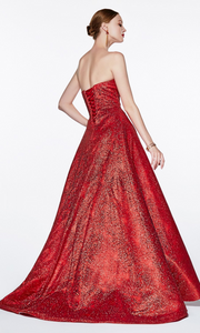 Cinderella Divine CB0033 back of long red metallic semi ballgown