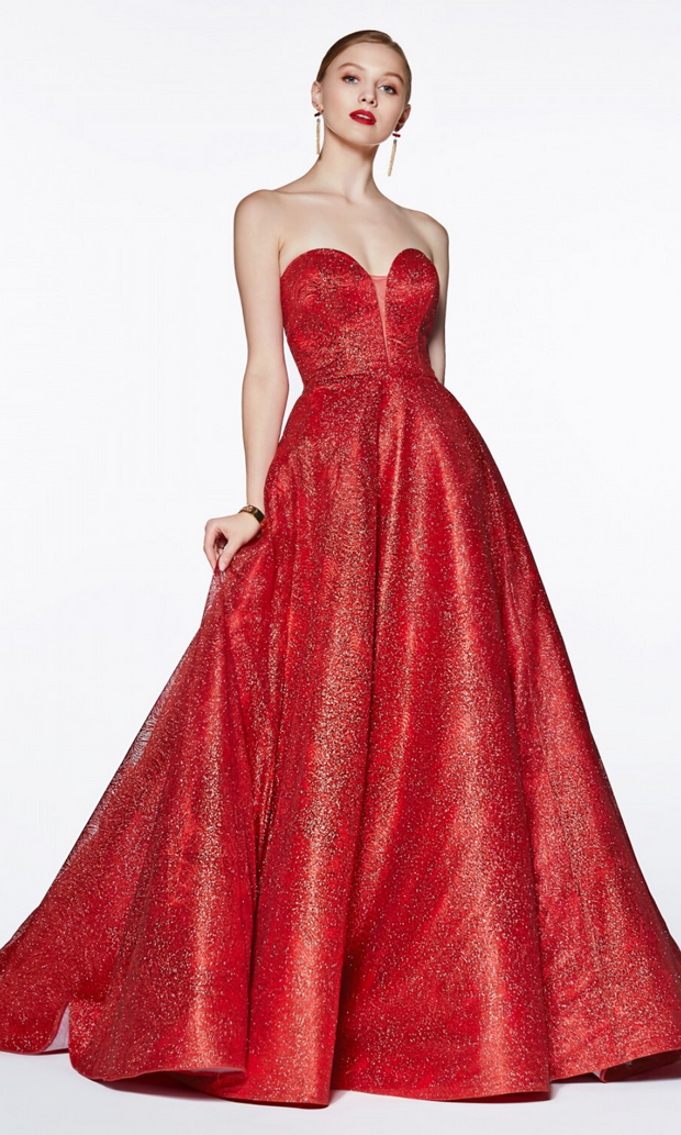 Cinderella Divine CB0033 long red metallic semi ballgown