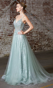 Cinderella Divine CB047 long light green flowy lace v neck glittery dress w/ tulle skirt. Light green dress is perfect for black tie event, prom, indowestern gown, wedding reception/engagement dress, formal wedding guest dress. Plus sizes avail.jpg
