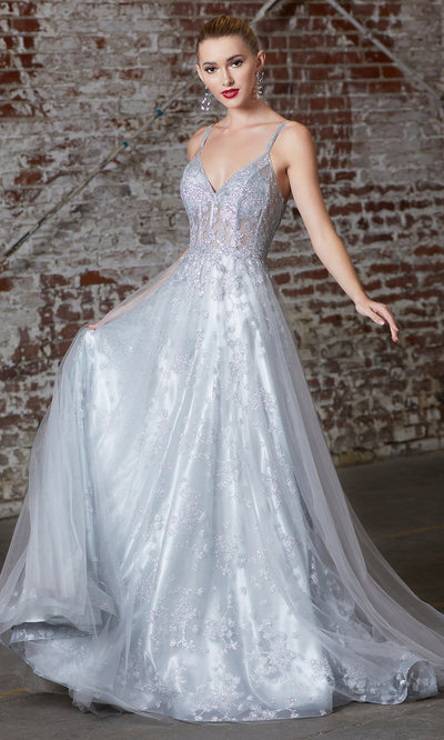 Cinderella Divine CB047 long silver flowy lace v neck glittery dress w/ tulle skirt. Light grey dress is perfect for black tie event, prom, indowestern gown, wedding reception/engagement dress, formal wedding guest dress. Plus sizes avail.jpg