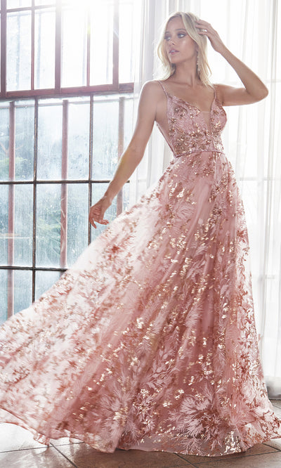 Cinderella Divine CB048 long rose gold flowy v neck glittery dress w/ tulle skirt & straps. Rose gold dress is perfect for black tie event, prom, indowestern gown, wedding reception/engagement dress, formal wedding guest dress. Plus sizes avail-2.jpg