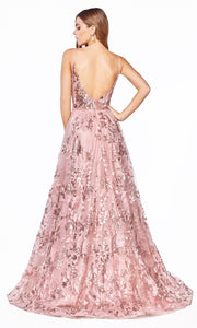 Cinderella Divine CB048 long rose gold flowy v neck glittery dress w/ tulle skirt & straps. Rose gold dress is perfect for black tie event, prom, indowestern gown, wedding reception/engagement dress, formal wedding guest dress. Plus sizes avail-back