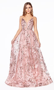 Cinderella Divine CB048 long rose gold flowy v neck glittery dress w/ tulle skirt & straps. Rose gold dress is perfect for black tie event, prom, indowestern gown, wedding reception/engagement dress, formal wedding guest dress. Plus sizes avail