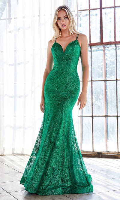 Cinderella Divine CB049 long emerald green fitted v neck metallic dress w/ open back & straps. Dark green dress is perfect for black tie event, prom, indowestern gown, wedding reception/engagement dress, formal wedding guest dress. Plus sizes avail-2