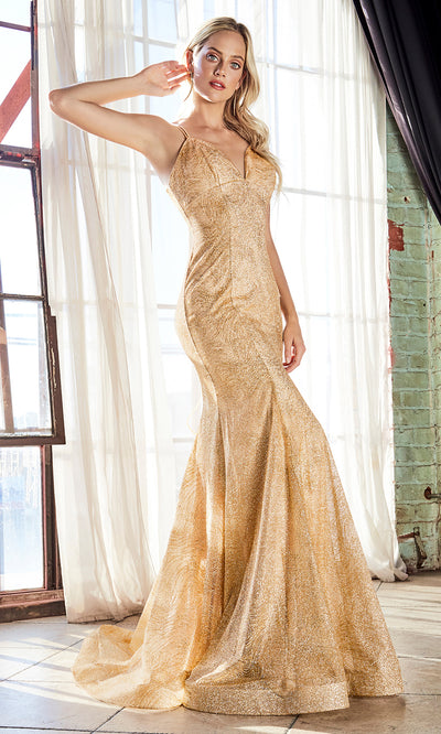 Cinderella Divine CB049 long gold fitted v neck metallic mermaid dress w/ open back & straps. Gold dress is perfect for black tie event, prom, indowestern gown, wedding reception/engagement dress, formal wedding guest dress. Plus sizes avail