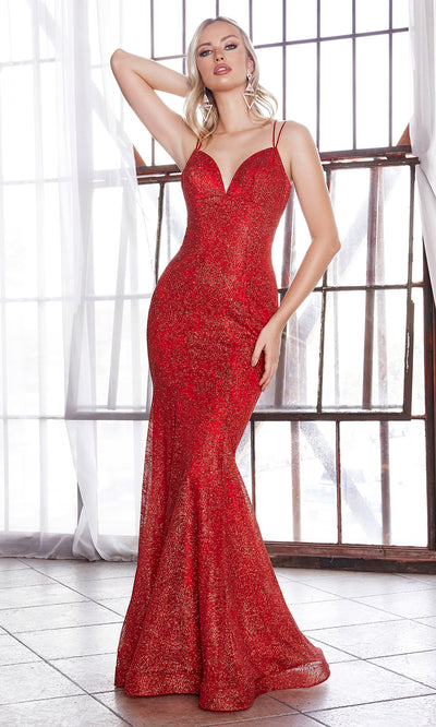 Cinderella Divine CB049 long red fitted v neck metallic mermaid dress w/ open back & straps. Red dress is perfect for black tie event, prom, indowestern gown, wedding reception/engagement dress, formal wedding guest dress. Plus sizes avail