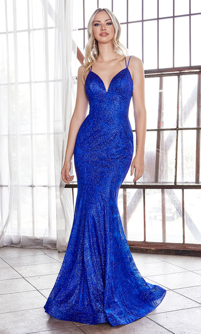 Cinderella Divine CB049 long royal blue fitted v neck metallic mermaid dress w/ open back & straps. Royal dress is perfect for black tie event, prom, indowestern gown, wedding reception/engagement dress, formal wedding guest dress. Plus sizes avail