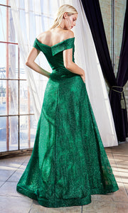Cinderella Divine CB050 long emerald green metallic beaded off shoulder dress. Perfect dark green evening dress for prom, quinceanera dress, indowestern gown, prom, engagement/wedding reception, debut, sweet 16. Sweet 15. Plus sizes available-b.jpg