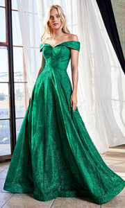 Cinderella Divine CB050 long emerald green metallic beaded off shoulder dress. Perfect dark green evening dress for prom, quinceanera dress, indowestern gown, prom, engagement/wedding reception, debut, sweet 16. Sweet 15. Plus sizes available.jpg