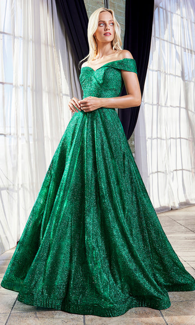 Cinderella Divine CB050 long emerald green metallic beaded off shoulder dress. Perfect dark green evening dress for prom, quinceanera dress, indowestern gown, prom, engagement/wedding reception, debut, sweet 16. Sweet 15. Plus sizes available-2.jpg