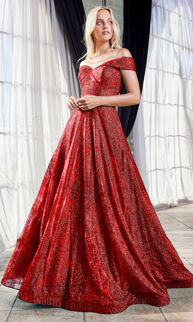 Cinderella Divine CB050 long red metallic beaded off shoulder dress. Perfect red evening dress for prom, quinceanera dress, indowestern gown, prom, engagement/wedding reception, debut, sweet 16. Sweet 15. Plus sizes available.jpg