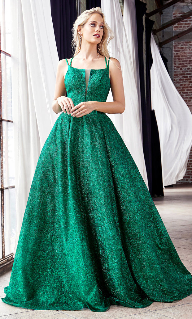 Cinderella Divine CB051 long emerald green metallic beaded dress with straps. Perfect dark green evening dress for prom, quinceanera dress, indowestern gown, prom, engagement/wedding reception, debut, sweet 16. Sweet 15.Plus sizes available.jpg