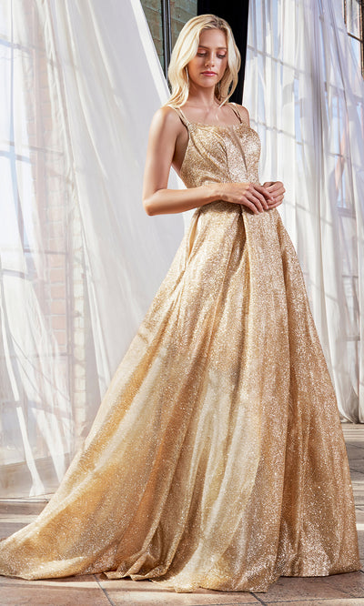 Cinderella Divine CB051 long gold metallic beaded dress with straps. Perfect gold evening dress for prom, quinceanera dress, indowestern gown, prom, engagement/wedding reception, debut, sweet 16. Sweet 15. Plus sizes available-s.jpg