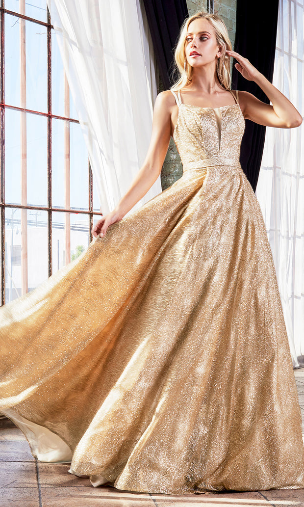 Cinderella Divine CB051 long gold metallic beaded dress with straps. Perfect gold evening dress for prom, quinceanera dress, indowestern gown, prom, engagement/wedding reception, debut, sweet 16. Sweet 15.Plus sizes available.jpg