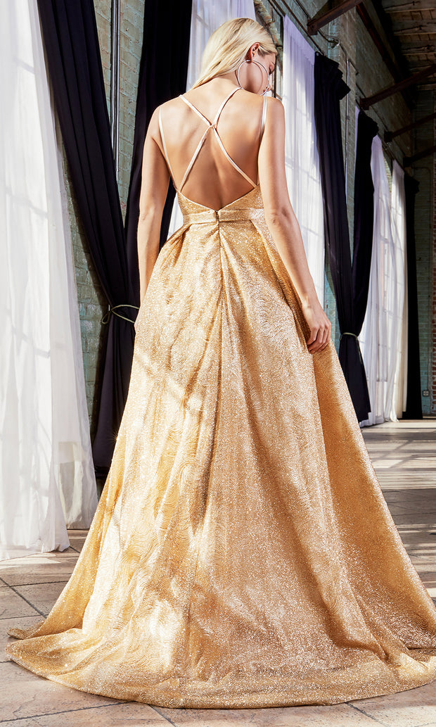 Cinderella Divine CB051 long gold metallic beaded dress with straps. Perfect gold evening dress for prom, quinceanera dress, indowestern gown, prom, engagement/wedding reception, debut, sweet 16. Sweet 15.Plus sizes available-b.jpg