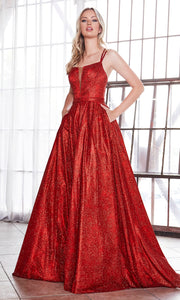 Cinderella Divine CB051 long red metallic beaded dress with straps. Perfect red evening dress for prom, quinceanera dress, indowestern gown, prom, engagement/wedding reception, debut, sweet 16. Sweet 15.Plus sizes available.jpg