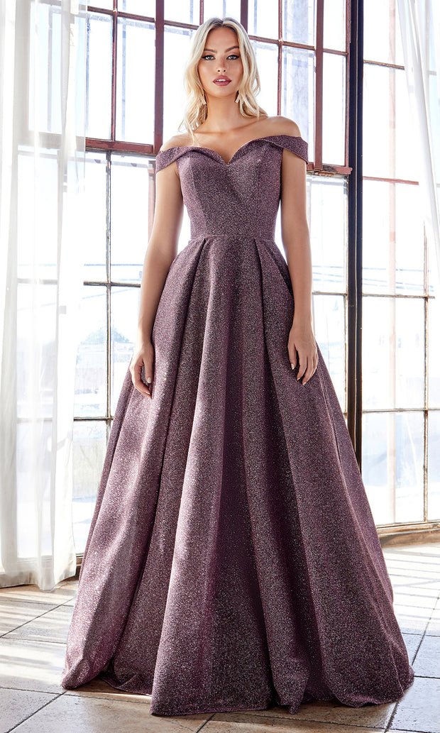Cinderella Divine CB056 long deep mauve metallic beaded off shoulder semi ballgown. Perfect purple evening dress for prom, formal wedding guest dress, indowestern gown, prom, engagement/wedding reception, debut, sweet 16. Plus sizes available.jpg