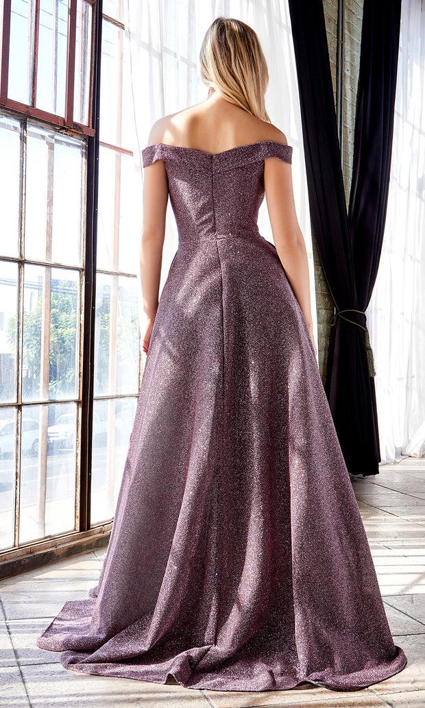 Cinderella Divine CB056 long deep mauve metallic beaded off shoulder semi ballgown. Perfect purple evening dress for prom, formal wedding guest dress, indowestern gown, prom, engagement/wedding reception, debut, sweet 16. Plus sizes available-b.jpg