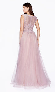 Cinderella Divine CD0144 mauve high neck flowy dress with beaded lace top. Perfect for prom, bridesmaids, formal wedding guest dress, & mother of bride/groom. Plus sizes avail-b.jpg