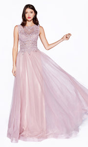 Cinderella Divine CD0144 mauve high neck flowy dress with beaded lace top. Perfect for prom, bridesmaids, formal wedding guest dress, & mother of bride/groom. Plus sizes avail.