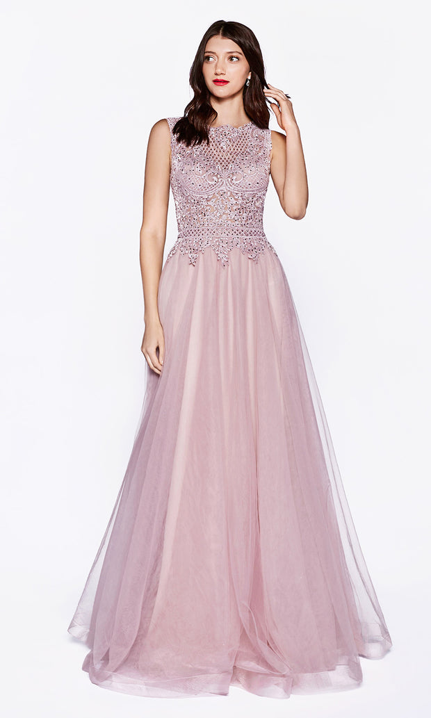 Cinderella Divine CD0144 mauve pink high neck flowy dress with beaded lace top. Perfect Dusty rose dress for prom, bridesmaids, formal wedding guest dress, & mother of bride/groom. Plus sizes avail.jpg
