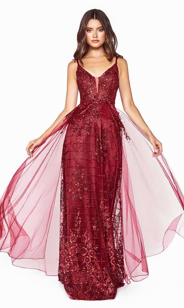 Cinderella Divine CD0147 burgundy red v neck glitter beaded dress w/low back & skirt overlay. Perfect sleek & sexy dark red dress for prom, wedding reception or engagement dress, formal wedding guest dress, gala, indowestern gown. Plus sizes avail