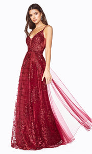 Cinderella Divine CD0147 burgundy red v neck glitter beaded dress w/low back & skirt overlay. Perfect sleek & sexy dark red dress for prom, wedding reception or engagement dress, formal wedding guest dress, gala, indowestern gown. Plus sizes avail-s