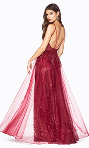 Cinderella Divine CD0147 burgundy red v neck glitter beaded dress w/low back & skirt overlay. Perfect sleek & sexy dark red dress for prom, wedding reception or engagement dress, formal wedding guest dress, gala, indowestern gown. Plus sizes avail-b