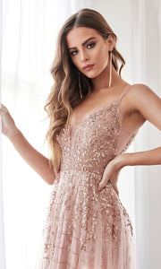 Cinderella Divine CD0147 rose gold v neck glitter beaded dress w/low back & skirt overlay. Perfect sleek & sexy rose gold dress for prom, wedding reception or engagement dress, formal wedding guest dress, gala, indowestern gown. Plus sizes avail-c