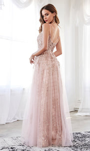 Cinderella Divine CD0147 rose gold v neck glitter beaded dress w/low back & skirt overlay. Perfect sleek & sexy rose gold dress for prom, wedding reception or engagement dress, formal wedding guest dress, gala, indowestern gown. Plus sizes avail-b