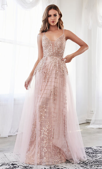Cinderella Divine CD0147 rose gold v neck glitter beaded dress w/low back & skirt overlay. Perfect sleek & sexy rose gold dress for prom, wedding reception or engagement dress, formal wedding guest dress, gala, indowestern gown. Plus sizes avail-2