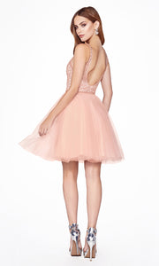 Cinderella Divine CD0149 short blush pink flowy simple v neck party dress w puffy skirt & beaded top. Light pink sequin dress is perfect for prom, graduation, grade 8 grad, confirmation dress, bat mitzvah dress, quinceanera damas. Plus sizes avail-b