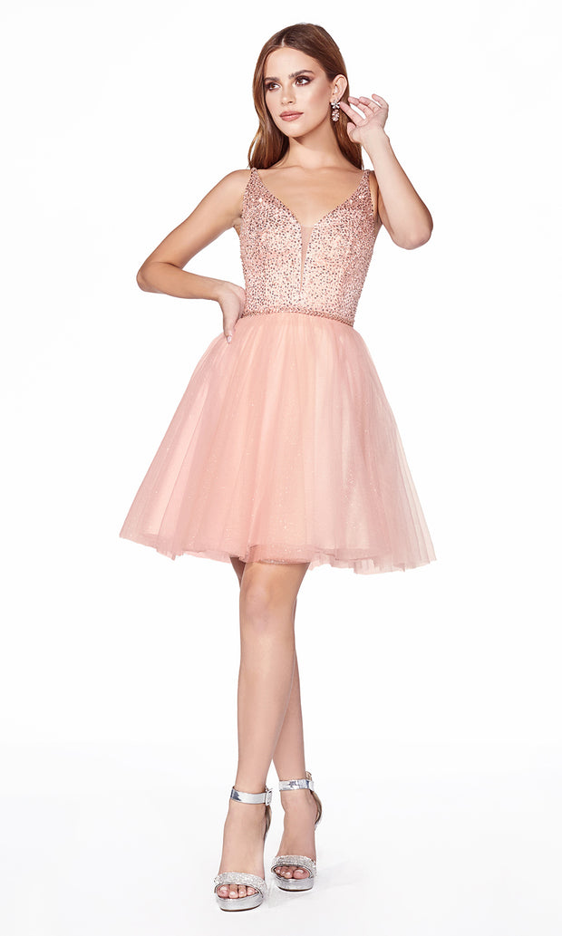 Cinderella Divine CD0149 short blush pink flowy simple v neck party dress w puffy skirt & beaded top. Light pink sequin dress is perfect for prom, graduation, grade 8 grad, confirmation dress, bat mitzvah dress, quinceanera damas. Plus sizes avail