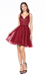 Cinderella Divine CD0149 short burgundy red flowy simple v neck party dress w puffy skirt & beaded top. Dark red sequin dress is perfect for prom, graduation, grade 8 grad, confirmation dress, bat mitzvah dress, quinceanera damas. Plus sizes avail