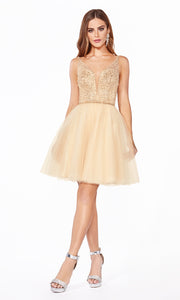 Cinderella Divine CD0149 short champagne gold flowy simple v neck party dress w puffy skirt & beaded top. Light gold sequin dress is perfect for prom, graduation, grade 8 grad, confirmation dress, bat mitzvah dress, quinceanera damas. Plus sizes avail