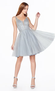 Cinderella Divine CD0149 short silver grey flowy simple v neck party dress w puffy skirt & beaded top. Light gray sequin dress is perfect for prom, graduation, grade 8 grad, confirmation dress, bat mitzvah dress, quinceanera damas. Plus sizes avail