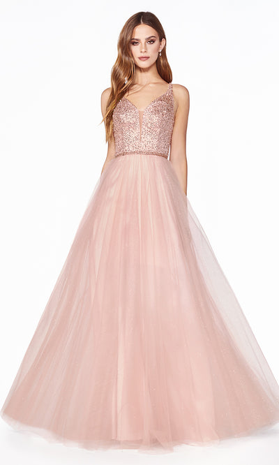 Cinderella Divine CD0150 blush pink v neck sequin beaded dress w/low back & wide straps. Perfect light pink dress for prom, wedding reception or engagement dress, indowestern gown, sweet 16, debut, quinceanera, formal party dress. Plus sizes avail