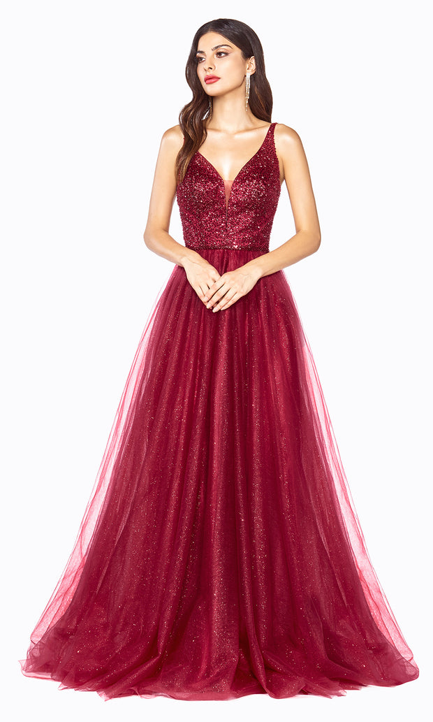 Cinderella Divine CD0150 burgundy red v neck sequin beaded dress w/low back & wide straps. Perfect dark red dress for prom, wedding reception or engagement dress, indowestern gown, sweet 16, debut, quinceanera, formal party dress. Plus sizes avail