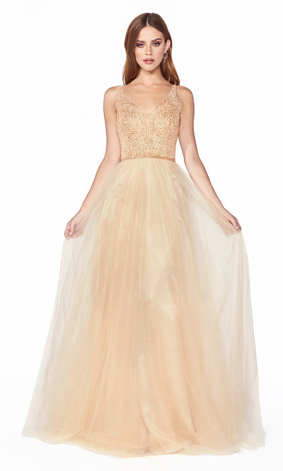Cinderella Divine CD0150 champagne gold v neck sequin beaded dress w/low back & wide straps. Perfect light gold dress for prom, wedding reception or engagement dress, indowestern gown, sweet 16, debut, quinceanera, formal party dress. Plus sizes avail