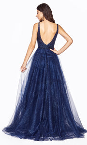Cinderella Divine CD0150 navy blue v neck sequin beaded dress w/low back & wide straps. Perfect dark blue dress for prom, wedding reception or engagement dress, indowestern gown, sweet 16, debut, quinceanera, formal party dress. Plus sizes avail-b