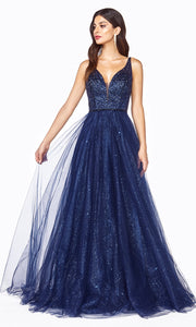 Cinderella Divine CD0150 navy blue v neck sequin beaded dress w/low back & wide straps. Perfect dark blue dress for prom, wedding reception or engagement dress, indowestern gown, sweet 16, debut, quinceanera, formal party dress. Plus sizes avail