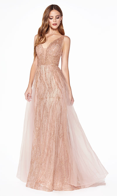 Cinderella Divine CD0152 rose gold v neck dress wide straps skirt overlay Perfect rose gold dress for prom bridesmaids formal wedding guest dress gala black tie event wedding engagement reception beaded indowestern gown Plus sizes avail-1.jpg