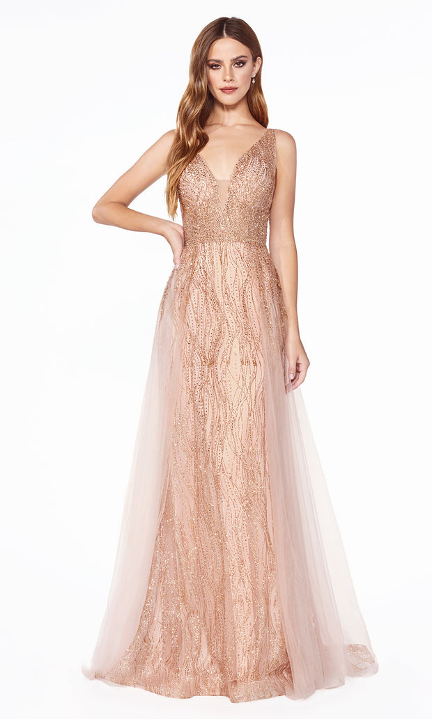 Cinderella Divine CD0152 rose gold v neck dress wide straps skirt overlay Perfect rose gold dress for prom bridesmaids formal wedding guest dress gala black tie event wedding engagement reception beaded indowestern gown Plus sizes avail.jpg