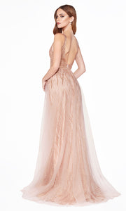 Cinderella Divine CD0152 rose gold v neck dress wide straps skirt overlay Perfect rose gold dress for prom bridesmaids formal wedding guest dress gala black tie event wedding engagement reception beaded indowestern gown Plus sizes avail-b.jpg